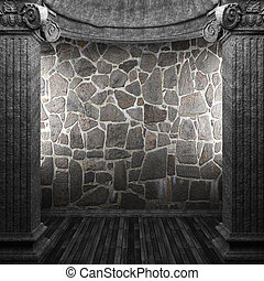 stone columns and wall made in 3D