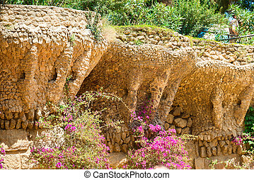 Stone columns in colonnade of Park Guell