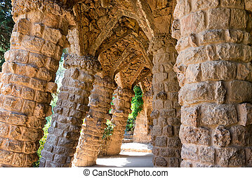 Stone columns of Park Guell