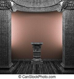 stone columns, pedestal