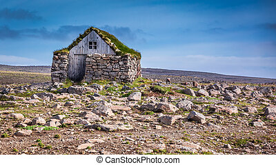 Stone cottage on the middle of nowhere in Iceland