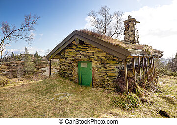 Stone cottage up in a mountain - Picture of and old stone...
