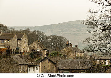 Stone cottages in Peak District Village