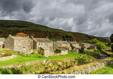 Stone cottages in Thwaite, England
