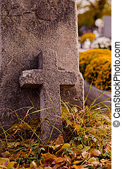stone cross at cemetery
