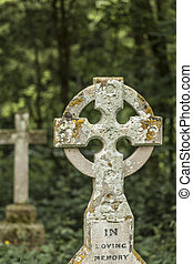 Stone cross Gravestone with in Loving memory words