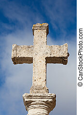 Stone cross in Carrion de los Condes, Tierra de Campos, Palencia, Castilla y Leon, Spain