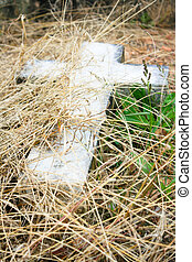 Stone Cross in the Grass