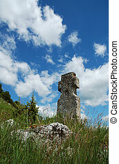 Stone cross in the outdoor