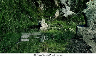 Stone cross on old cemetery reflected in water