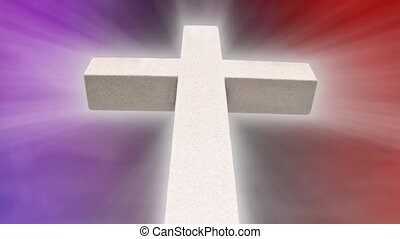White Stone Cross with abstract red and purple background with shining light rays. Seamless loop. 720p