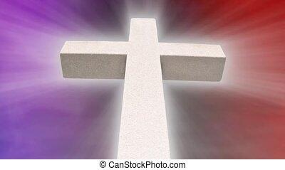 Stone Cross Purple Red HD Loop - White Stone Cross with...