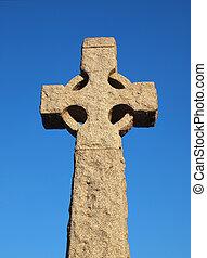 Stone Cross - Stone cross on clear blue sky