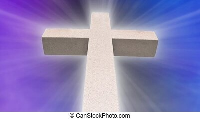 White Stone Cross with abstract purple and blue background with shining light rays. Seamless loop. 720p