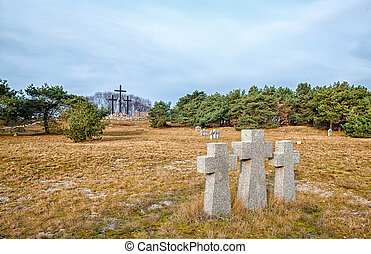 stone crosses in the old cemetery