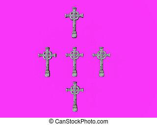 Stone Crosses - Stone crosses over lavender