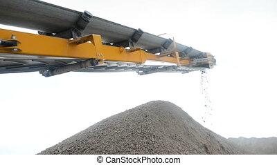 Stone crusher at the quarry - Belt detail shot of machine...