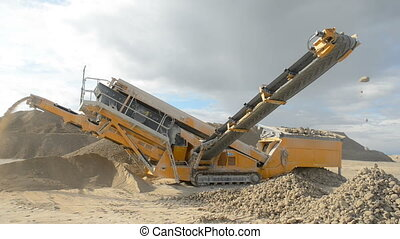 Stone crusher at the quarry - Detail shot of machine for...