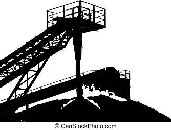 Stone crusher in quarry. Industrial background