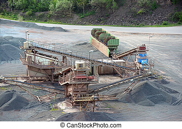 stone crusher in surface mine. hdr image. - stone crusher in...