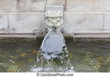 Stone dragon fountain