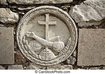 Stone Embossment at Gethsemane - A stone embossment...