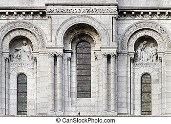 Stone facade windows