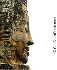 Stone face at bayon temple - angkor wat