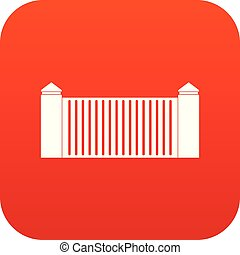 Stone fence icon digital red