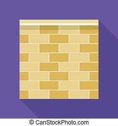 Stone fence icon, flat style