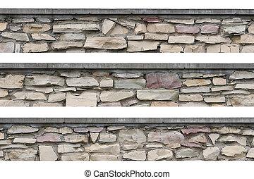 Stone fence panorama, panoramic stonewall, isolated limestone
