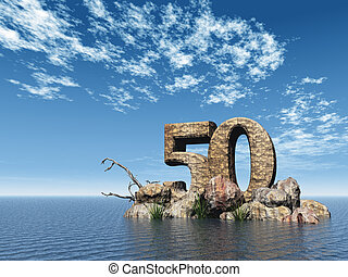 stone fifty - the number fifty - 50 - at the ocean - 3d...