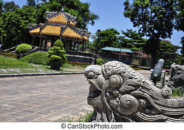 A stone figure at the Hue Citadel in Vietnam