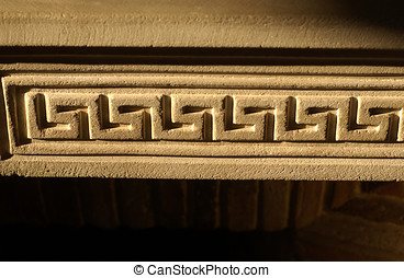 Stone fireplace frieze - Pattern carved in a French stone...