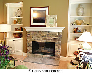 Stone Fireplace - Stone fireplace in a modern living room ...