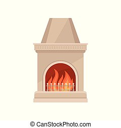 Stone fireplace with burning fire vector Illustration on a white background