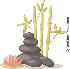Stone, flower and bamboo hygiene items for bath spa Health treatment therapy vector.