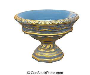 Stone flowerpot vase in the old classical style isolated over white