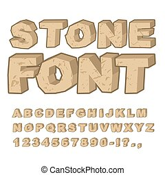 Stone font. Set of letters from stones. Alphabet and rocks....