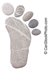 stone foot on white
