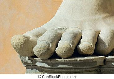 stone foot, rome, italy