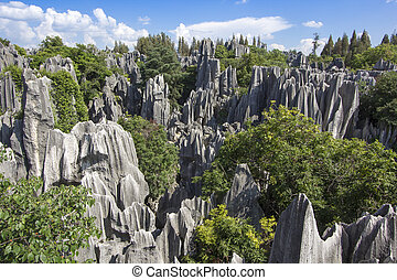 Stone forest national park in Yunnan province - limestone...