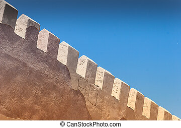 Fortress wall - Stone Fortress wall and blue sky