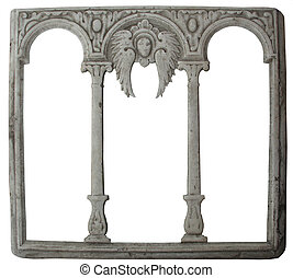 old stone decorated frame. Isolated with clipping path