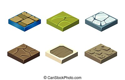 Stone game platforms set, user interface assets for mobile app or video game vector Illustration on a white background