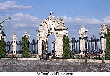 stone gate and fence Buda royal castle Budapest