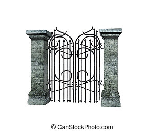 Stone Gate - Isolated stone a iron gate