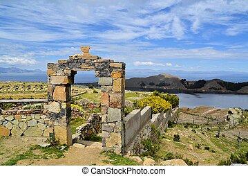 Stone Gate Lake Titicaca between Bolivia and Peru