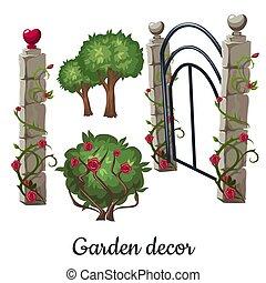 Stone gate overgrown with roses. Garden decor. Vector illustration.