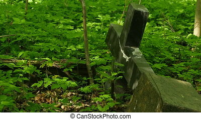stone grave cross is fallen, old cemetery panorama